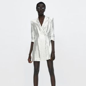 NEW Zara Sequin Metallic White Blazer Dress Jacket